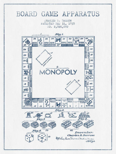 Dice Digital Art - Monopoly Patent From 1935 - Blue Ink by Aged Pixel