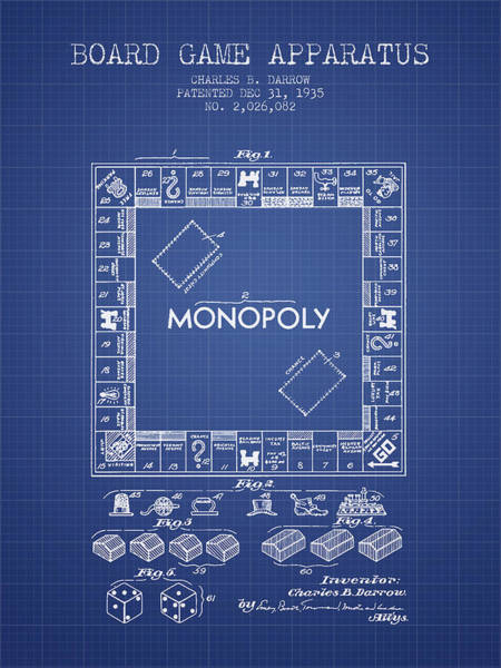 Dice Digital Art - Monopoly Patent From 1935 - Blueprint by Aged Pixel
