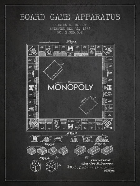 Dice Digital Art - Monopoly Patent From 1935 - Dark by Aged Pixel