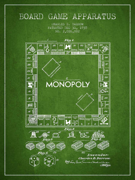 Dice Digital Art - Monopoly Patent From 1935 - Green by Aged Pixel
