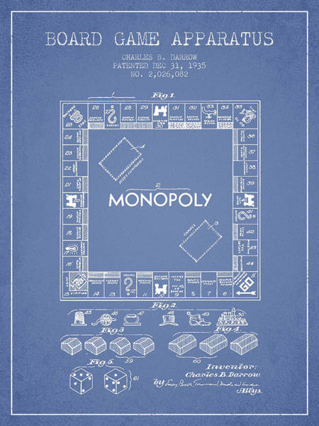 Dice Digital Art - Monopoly Patent From 1935 - Light Blue by Aged Pixel