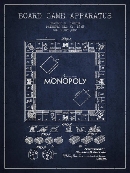 Dice Digital Art - Monopoly Patent From 1935 - Navy Blue by Aged Pixel