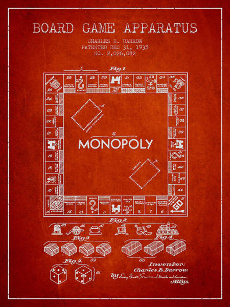 Dice Digital Art - Monopoly Patent From 1935 - Red by Aged Pixel