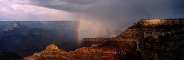 Mather Point Photograph - Monsoon Storm With Rainbow Passing by Panoramic Images