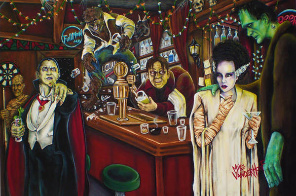 Dracula Painting - Monster Bar By Mike Vanderhoof by Mike Vanderhoof
