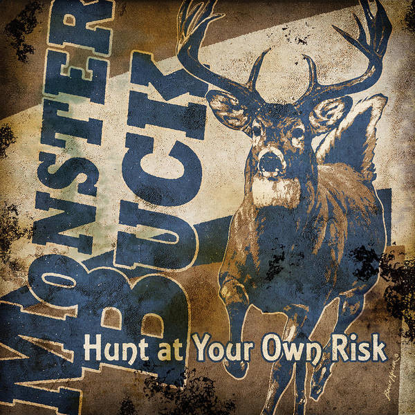 Whitetail Deer Wall Art - Painting - Monster Buck Deer Sign by JQ Licensing