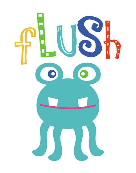 Bath Room Wall Art - Painting - Monster Flush by Tamara Robinson