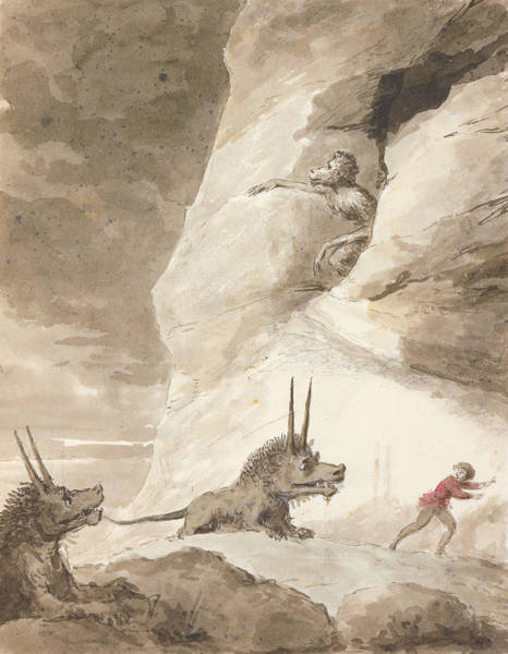 Frightening Drawing - Monsters Chasing A Man by George Dance
