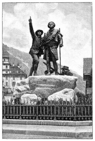Mont Blanc Wall Art - Photograph - Mont Blanc First Ascent Monument by Science Photo Library