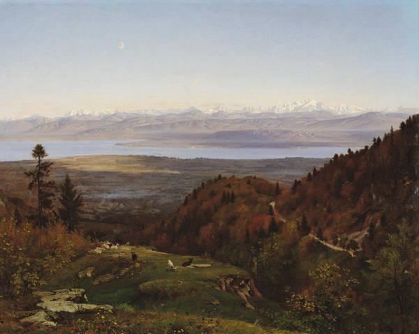 Mont Blanc Wall Art - Painting - Mont-blanc Seen From Saint-cergues, 1869 by Francois Louis Francais
