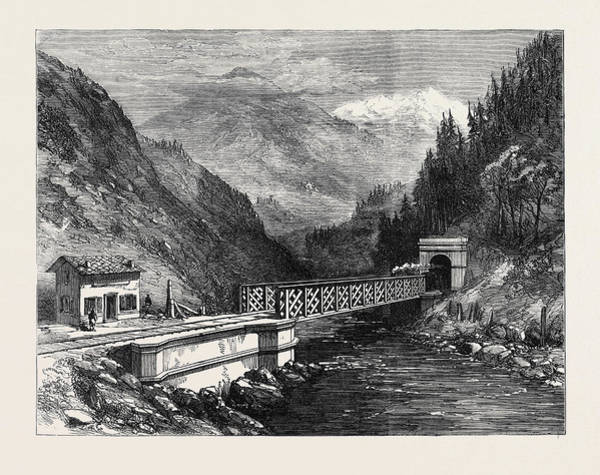 Wall Art - Drawing - Mont Cenis Railway Scenery The Dora Valley Near Salbertrand by English School