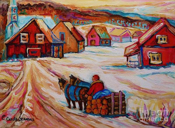 Painting - Mont St.hilaire Winter Scene Logger Heading Home To Quebec Village Winter Landscape Carole Spandau by Carole Spandau