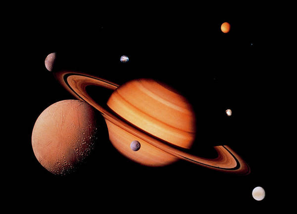 Voyager Photograph - Montage Of Voyager Photos Of Saturn & It's Moons by Nasa/science Photo Library
