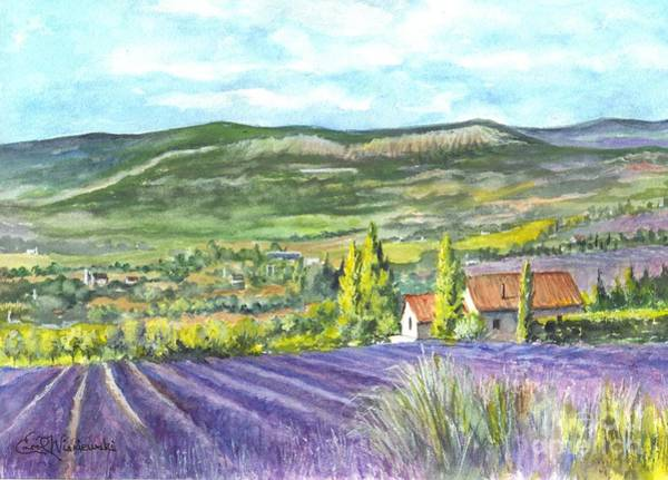 Floral Watercolor Drawing - Montagne De Lure In Provence France by Carol Wisniewski