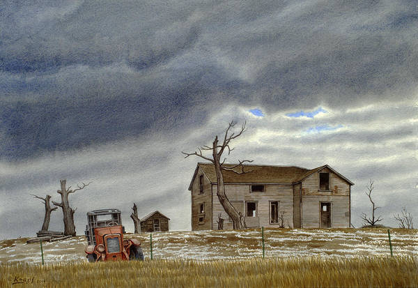 Abandon Wall Art - Painting - Montana Abandoned Homestead by Paul Krapf