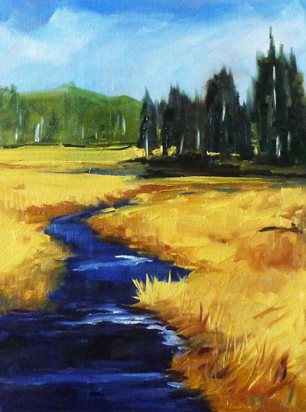 Prairie Grass Painting - Montana Creek by Nancy Merkle