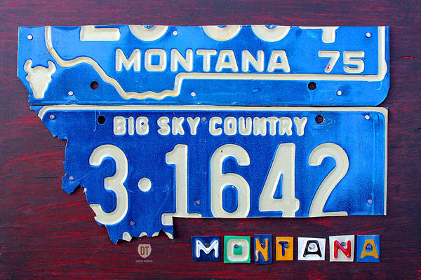 Recycling Mixed Media - Montana License Plate Map by Design Turnpike