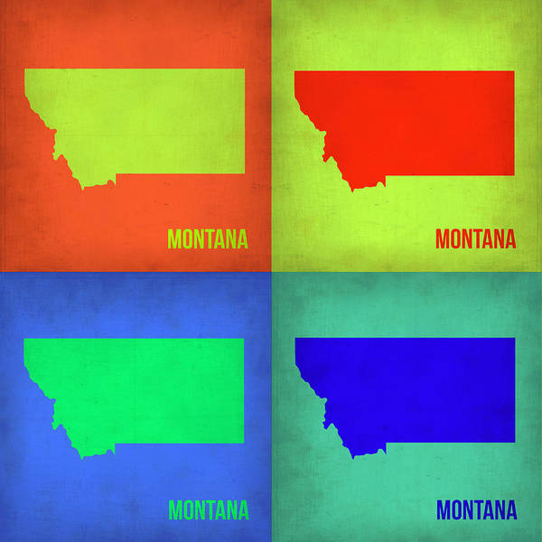 Montana Wall Art - Painting - Montana Pop Art Map 1 by Naxart Studio