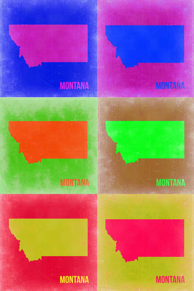 Montana Wall Art - Painting - Montana Pop Art Map 2 by Naxart Studio