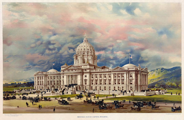 Montana Drawing - Montana State Capitol - 1896 by Mountain Dreams