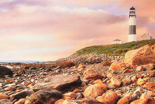 Painting - Montauk Point Lighthouse by Bob and Nadine Johnston