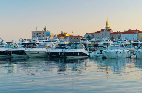 Old Photograph - Montenegro, Budva, Old Town Harbour by Alan Copson