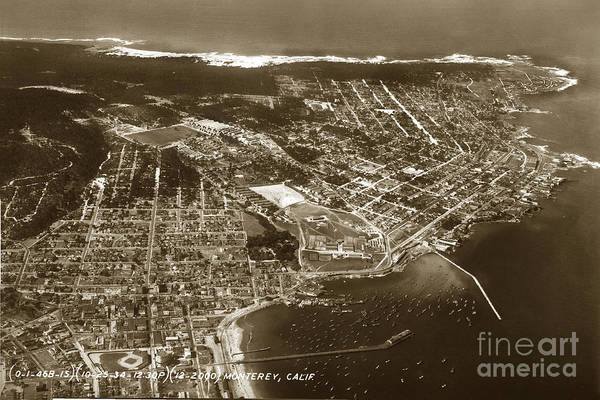 Photograph - Aerial Of Monterey And Pacific Grove  California Oct. 25 1934 by California Views Archives Mr Pat Hathaway Archives