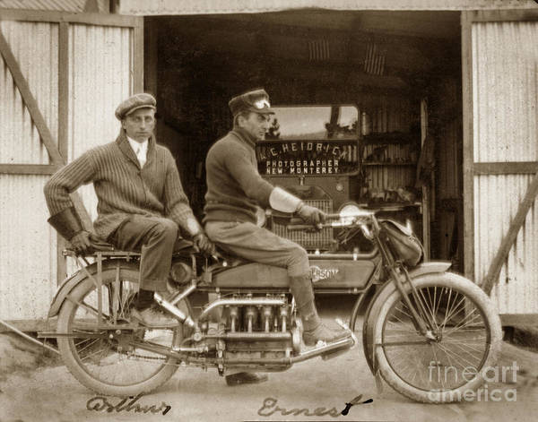 Photograph - Henderson Motorcycle New Monterey Calif. Circa 1915 by California Views Archives Mr Pat Hathaway Archives
