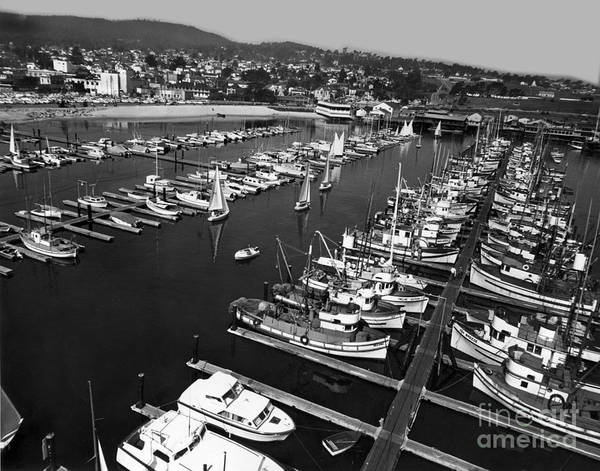 Photograph - Monterey Marina With Fishing Boats In Slips Sept. 4 1961  by California Views Archives Mr Pat Hathaway Archives