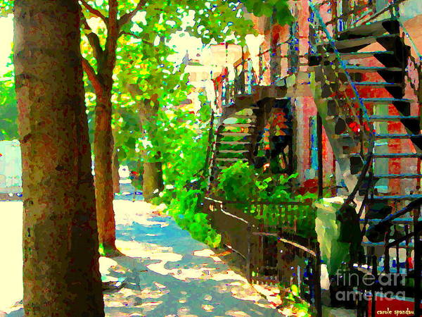 Montreal Street Scene Painting - Montreal Art Colorful Winding Staircase Scenes Tree Lined Streets Of Verdun Art By Carole Spandau by Carole Spandau