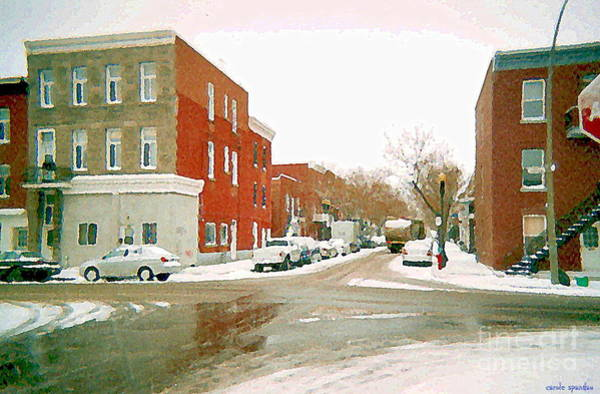 Painting - Montreal Art Winter Street Scene Painting The Point Psc Rowhouses In January Snow Cspandau by Carole Spandau