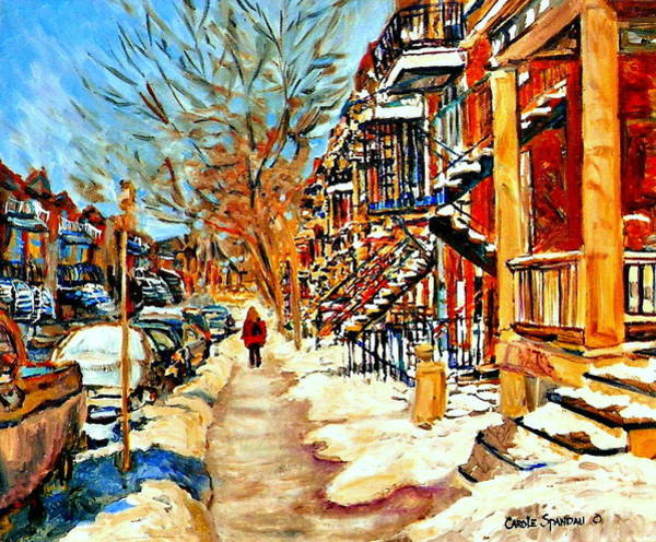 Painting - Montreal Art Winterwalk In Montreal Street Scene Painting by Carole Spandau