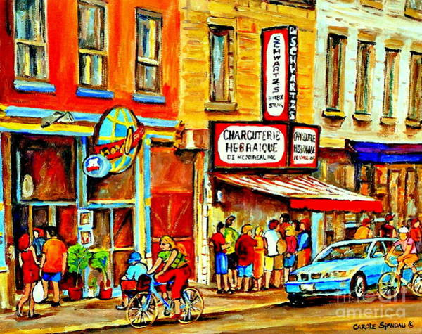 Painting - Montreal Bike Path Reserved Lane Cyclists Drive By Schwartzs Deli  Line-up Montreal Paintings by Carole Spandau