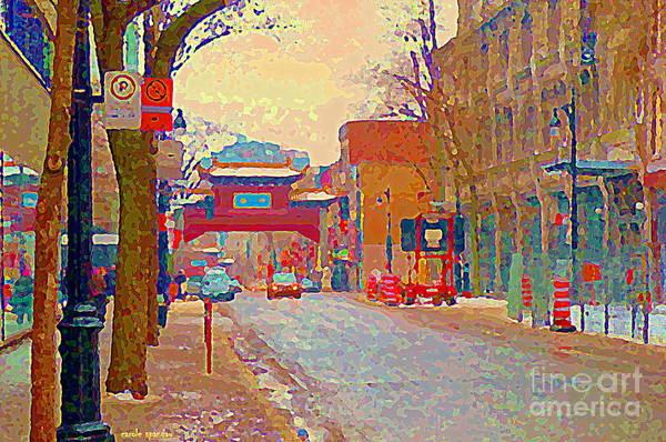 Painting - Montreal Chinatown Pagoda Gateway Arches Entrance St Laurent And La Gauchetiere City Scenes Cspandau by Carole Spandau