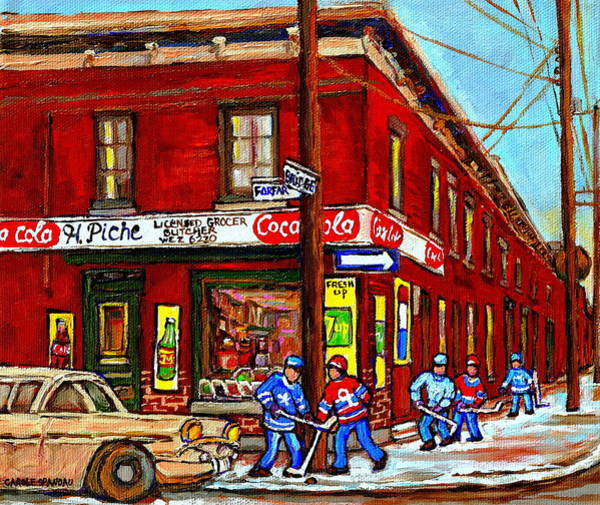Painting - Montreal Depanneur Epicerie Boucherie Coca Cola South West Montreal Winter Pantings Hockey Art  by Carole Spandau