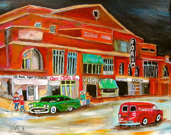 Delivery Truck Painting - Montreal Forum 1960 by Michael Litvack