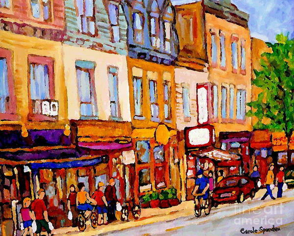 Painting - Montreal Memories On Canvas Main Street St Lawrence Blvd Schwartzs To Warshaws  City Scene Paintings by Carole Spandau