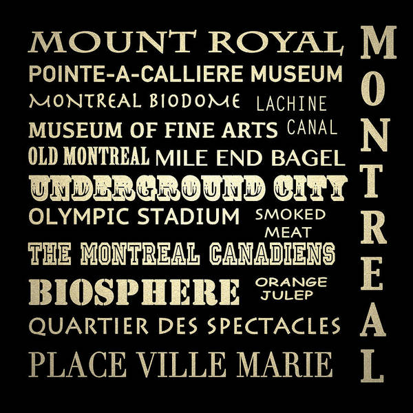 Montreal Digital Art - Montreal Quebec Famous Landmarks by Patricia Lintner