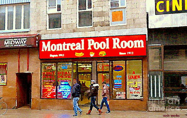 Painting - Montreal Pool Room Cheap Hotdogs St Laurent Greasy Spoon Montreal Tradition C Spandau Diners Dives   by Carole Spandau
