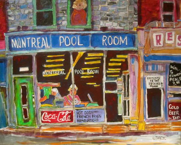 Wall Art - Painting - Montreal Pool Room by Michael Litvack