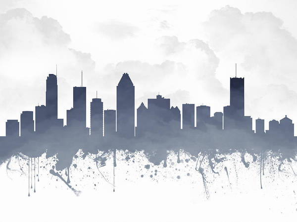 Montreal Digital Art - Montreal Quebec Skyline - Blue 03 by Aged Pixel