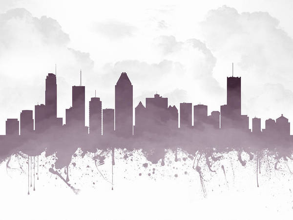 Splash Drawing - Montreal Quebec Skyline - Purple 03 by Aged Pixel