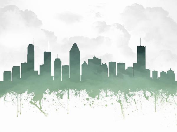 Quebec City Digital Art - Montreal Quebec Skyline - Teal 03 by Aged Pixel