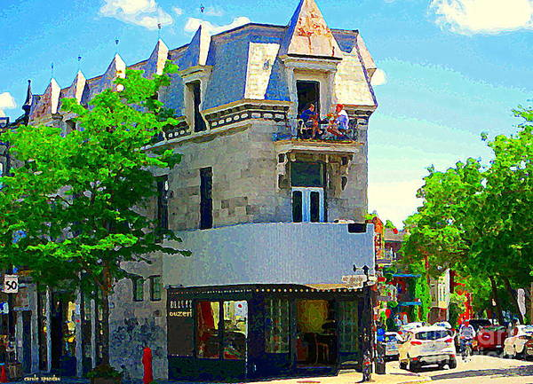 Painting - Montreal Skyline Ouzeri Cafe Summerlicious Greek Resto Sky Box Window Seats City Scene C Spandau  by Carole Spandau