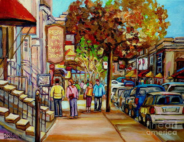 Prince Arthur Painting - Montreal Streetscenes By Cityscene Artist Carole Spandau Over 500 Montreal Canvas Prints To Choose  by Carole Spandau
