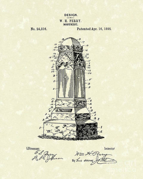 Drawing - Monument 1895 Patent Art by Prior Art Design
