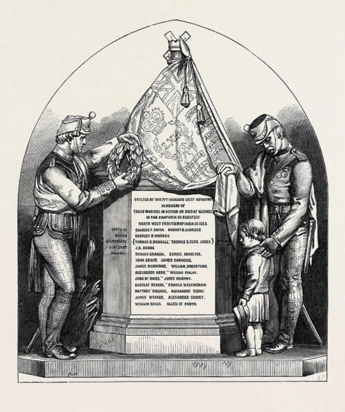 Brigade Drawing - Monument In Glasgow Cathedral To The Memory Of Officers by Brodie, William (1815-81), English