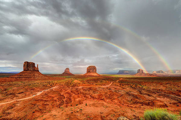 Photograph - Monument Valley Double Rainbow by Mark Whitt