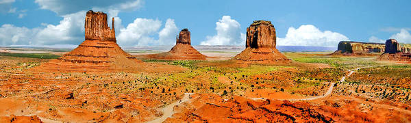 Painting - Monument Valley In Spring Panoramic Painting by Bob and Nadine Johnston