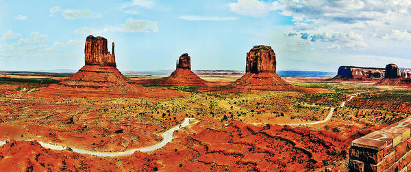 Photograph - Monument Valley Mittens Courthouse Panorama by Bob and Nadine Johnston